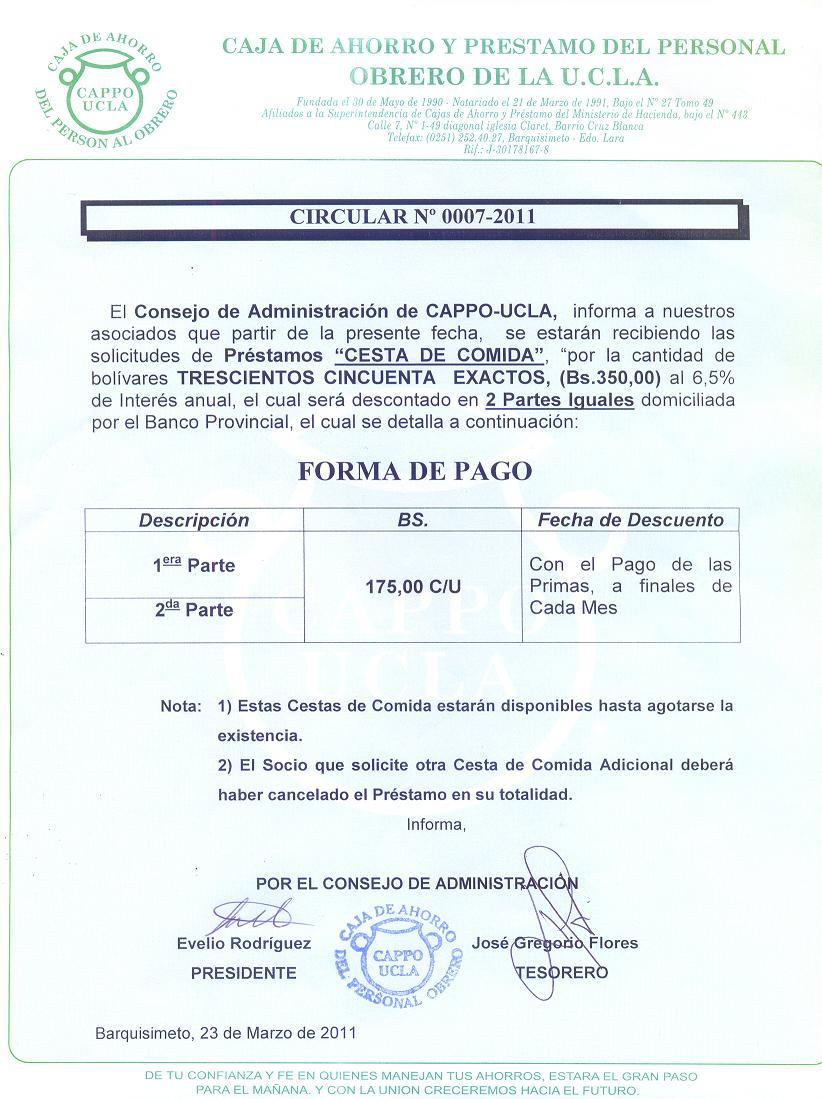 Circular 0007-2011 Prestamo Cesta Comida