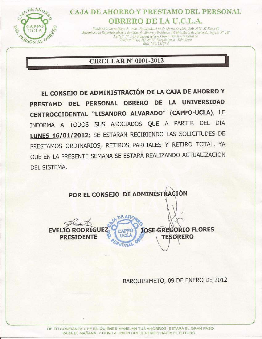 Circular 0001-2012 Prestamos / Retiros