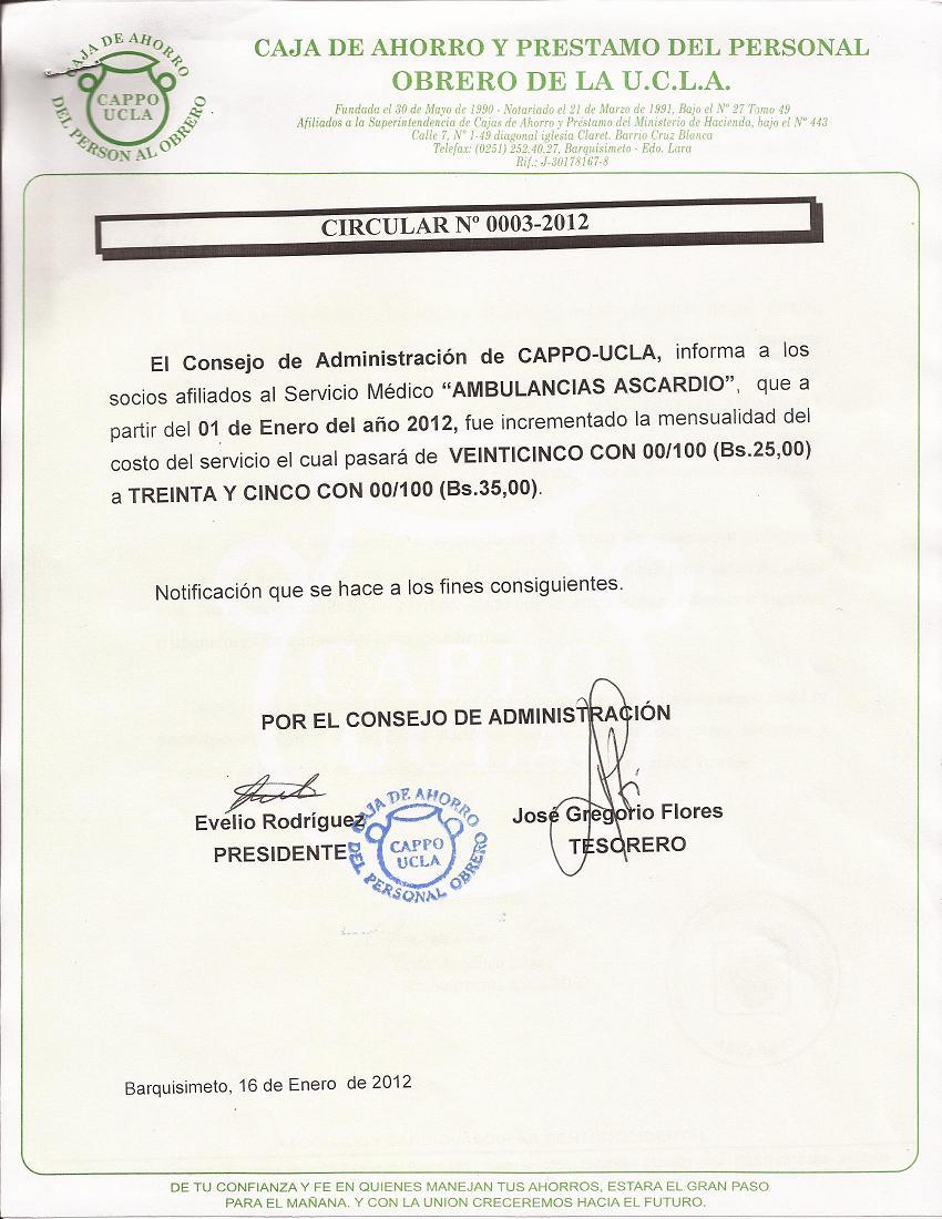 Circular 0003-2012 Incremento Mensualidad ASCARDIO