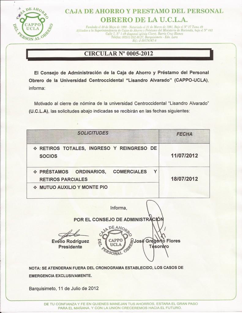 Circular 0005-2012 Cierre de Nomina