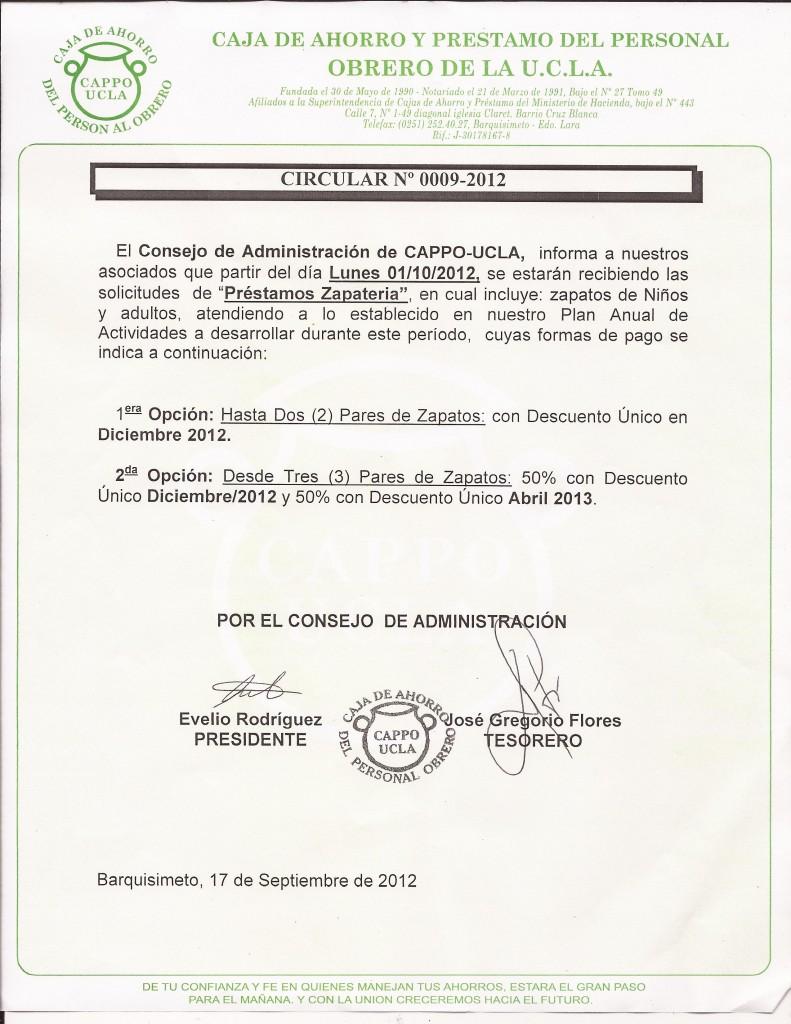 Circular 0009-2012 Prestamo Zapateria