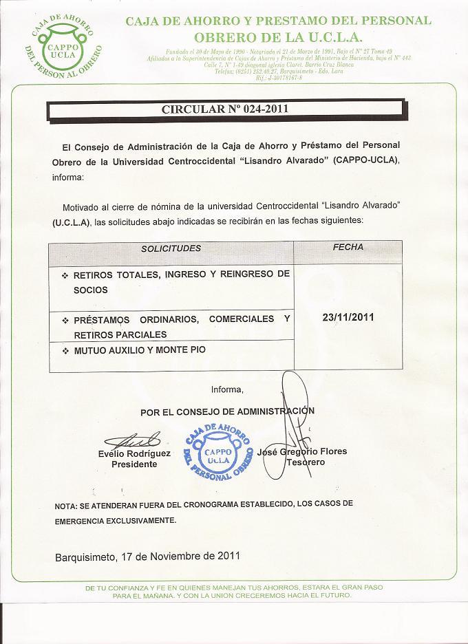 Circular 0024-2011 Cierre de Nomina