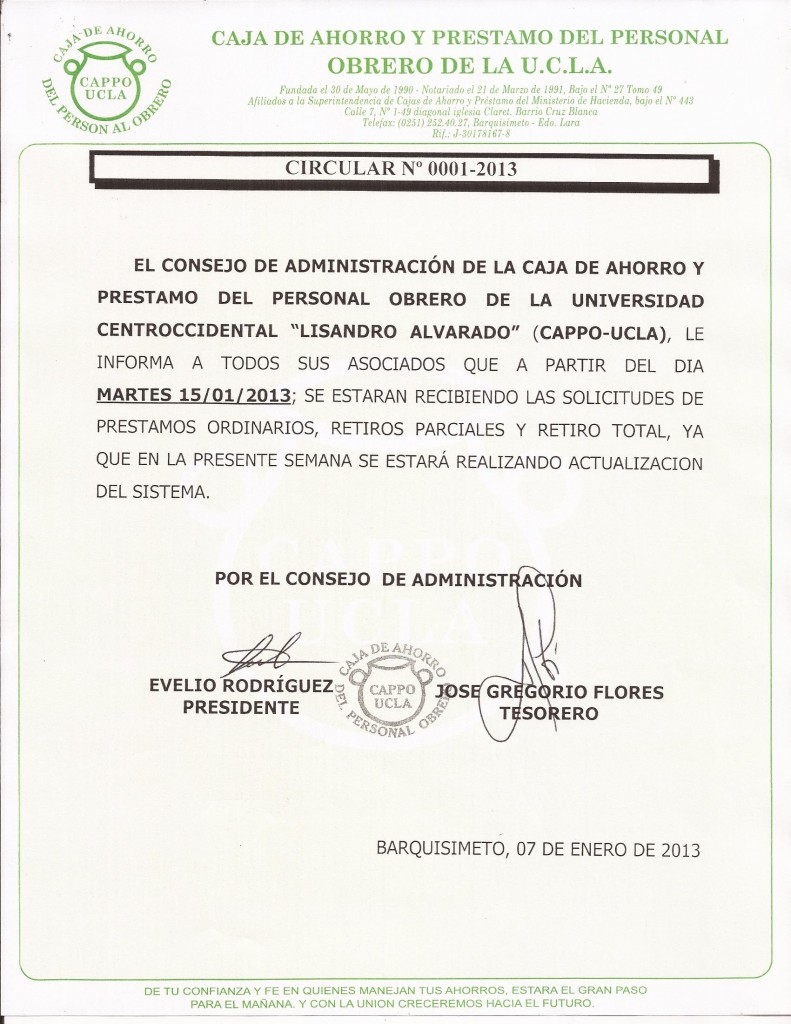 Circular 0001-2013 Reanudacion de Prestamos