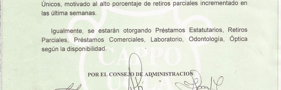 Comunicado Suspension Temporal de Prestamos con Descuentos Unicos