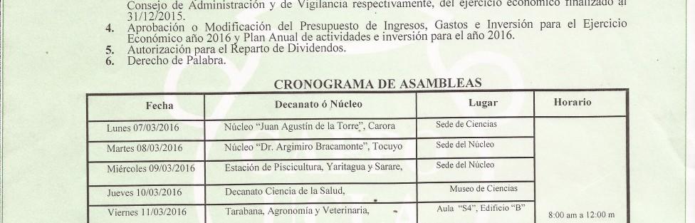 Cronograma de Asambleas Marzo 2016