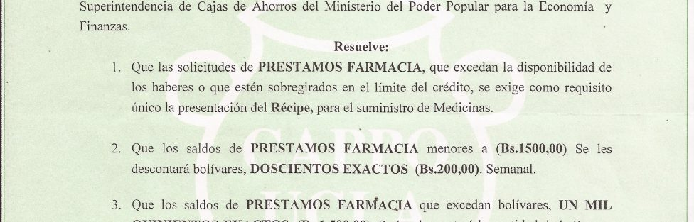 Resolucion Prestamos de Farmacia