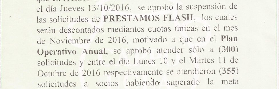 Comunicado Prestamo FLASH