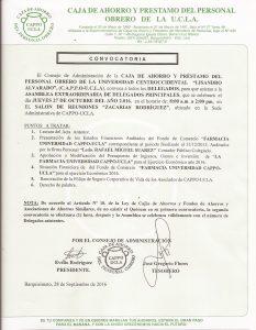 Convocatoria Asamblea Extraordinaria Delegados Principales