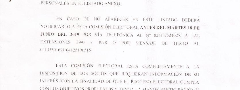 Información de la Comisión Electoral