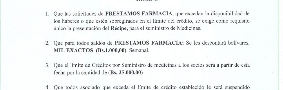 Resolucion Prestamo Farmacia
